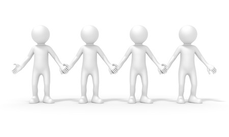 four people: An image of a four people team standing hand in hand Stock Photo