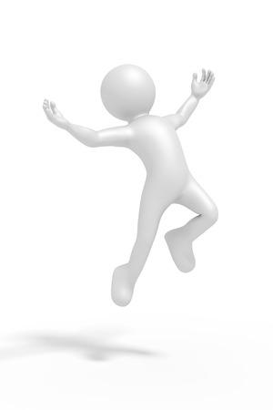 man jumping: An image of a jumping winning man