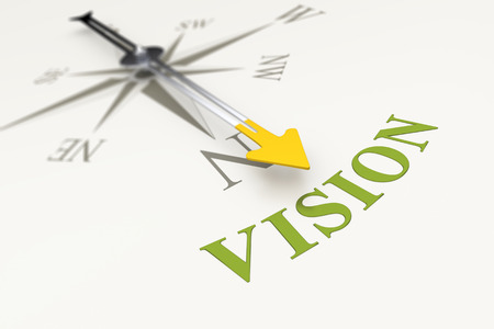 vision concept: An image of a compass with the word vision