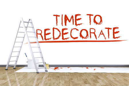 redecorate: 3d render of redecorate a room with a ladder