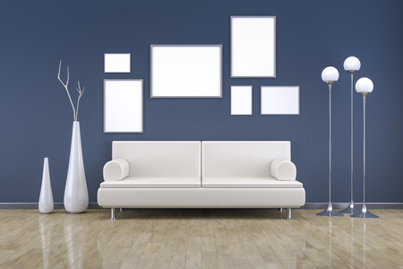 interior walls: A blue room with a sofa and background for your own content