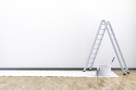 renew: 3d render of renew a room with a ladder