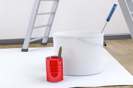 redecorate: 3d render of some typical redecorate utensils Stock Photo