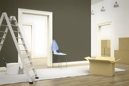 redecorate: 3d render of renew a room with a ladder