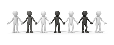 symbolized: The diversity symbolized with some black and white people hand in hand Stock Photo