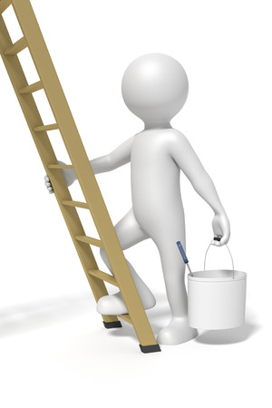 redecoration: An image of a man and a ladder doing redecoration