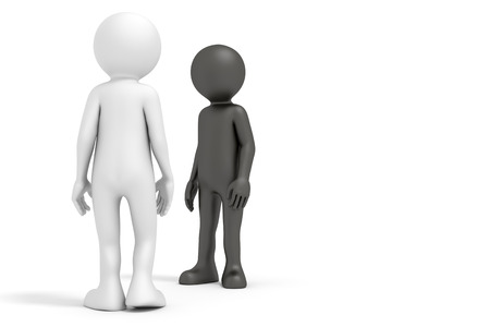 opposing: An image of a black and a white man meeting