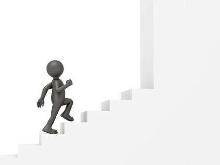 alone man: An image of a funny little man climbing stairs Stock Photo