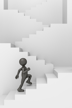 climbing stairs: An image of a funny little man climbing stairs Stock Photo