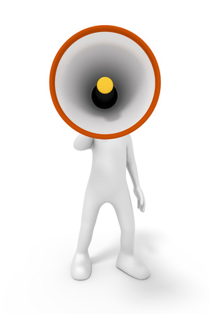 figure out: An image of a man with a megaphone