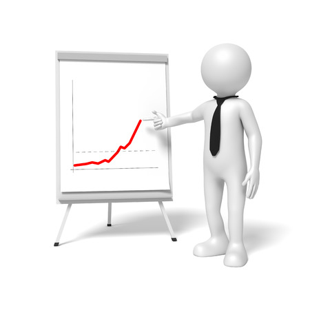 sheet: A business man is pointing to a flip chart