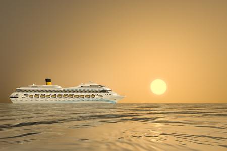 caribbean cruise: An image of a nice ocean cruise ship sunset Stock Photo