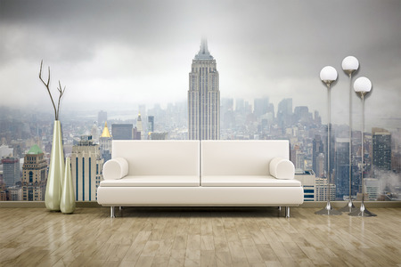 3D rendering of a sofa in front of a photo wall mural Stock Photo
