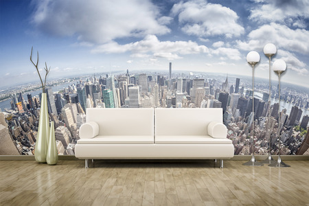3D rendering of a sofa in front of a photo wall mural 스톡 콘텐츠
