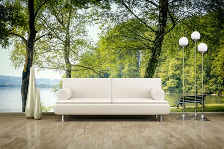 3D rendering of a sofa in front of a photo wall mural Stockfoto