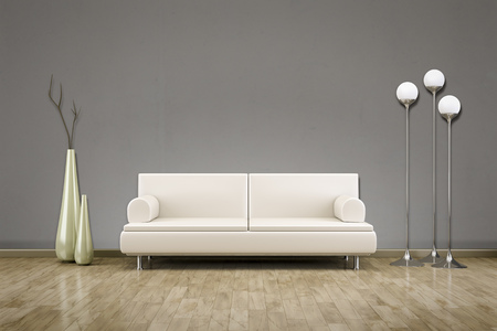 3D rendering of a sofa in front of a grey wall