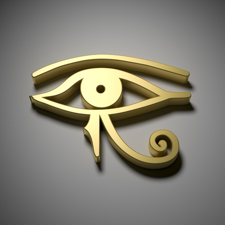 pyramid of the sun: An image of a golden Egypt eye Stock Photo