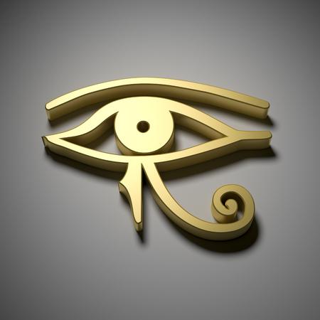 ojo de horus: Una imagen de un ojo dorado Egipto