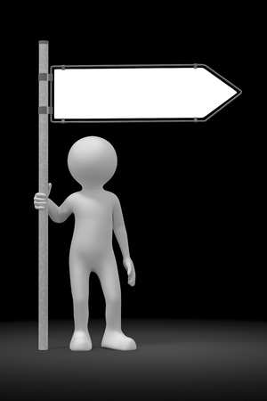 blank road sign: An image of a rendered black man and a blank road sign Stock Photo