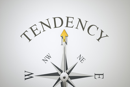 tendency: An image of a nice compass with the word tendency Stock Photo