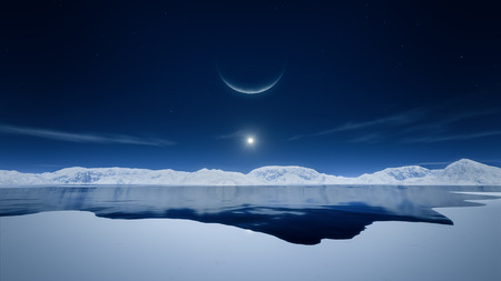 noche y luna: Una imagen del sol y de la luna en la región polar