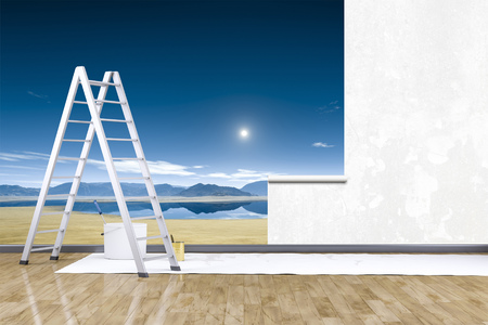 redecorate: 3d render of redecorate a room with a photo mural