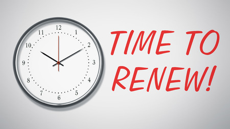 this: A clock at the wall with text time to renew