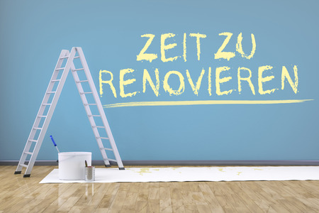 redecorate: a room with a ladder and the text time to renovate in german language