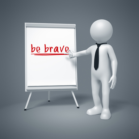 flipboard: An image of a business man presenting be brave