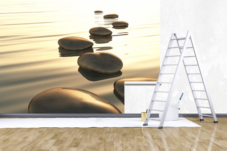 mural: 3d render of redecorate a room with a photo mural