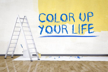 redecorate: a room with a ladder and the text color up your life