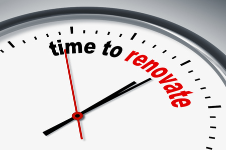 renew: An illustration of a clock with the words time to renew Stock Photo
