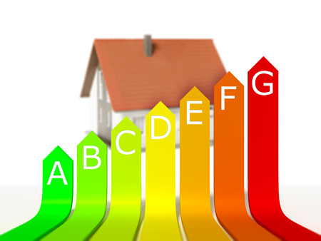 energy rating: An image of a nice model house with energy rating Stock Photo