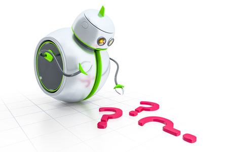 robot arm: A sweet little robot looking to some question marks Stock Photo