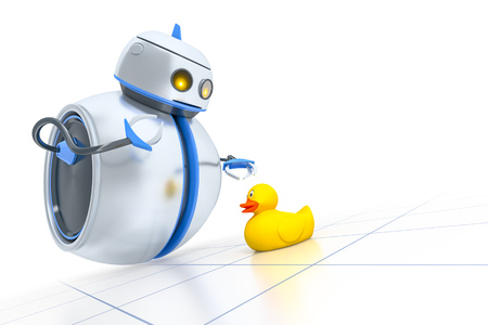 ducky: A sweet little robot and a yellow ducky
