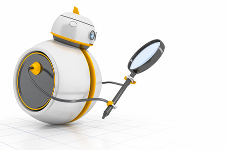 scale up: A sweet little robot with a magnifying glass