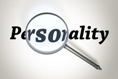 personalidad: Una imagen de una lupa y la palabra de la personalidad