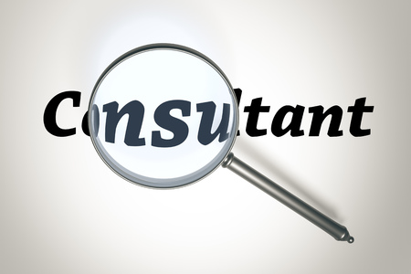 carreer: An image of a magnifying glass and the word Consultant