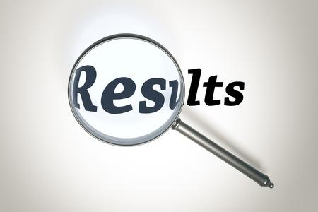 Een afbeelding van een vergrootglas en het woord Resultaten