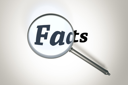 facts: An image of a magnifying glass and the word facts
