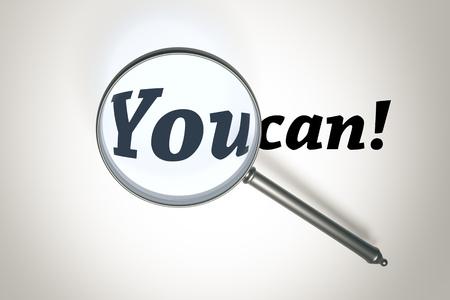 tu puedes: Una imagen de una lupa y las palabras que puedas Foto de archivo