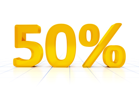 50: A 50 percent sign in a white background