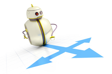 right of way: A sweet little robot is looking for the right way to go Stock Photo