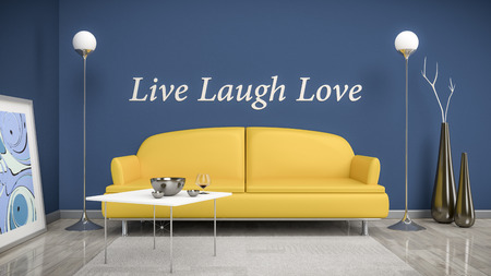 blue wall: 3d interior render image of an orange sofa in a blue room with the text live laugh love on the wall