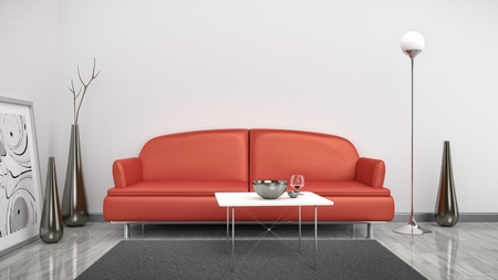 red sofa: 3d interior render image of a red sofa in a white room with space for your content