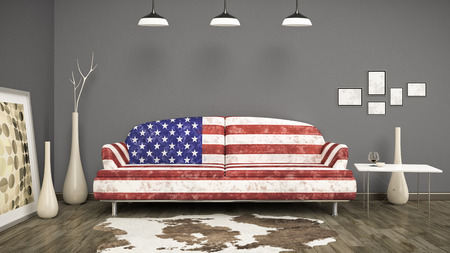 living room sofa: 3d interior render image of an usa flag sofa in a room with a cow skin