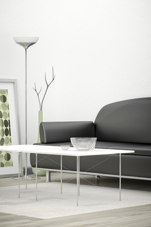 living room sofa: 3d interior render image of a black sofa in a white room with space for your content