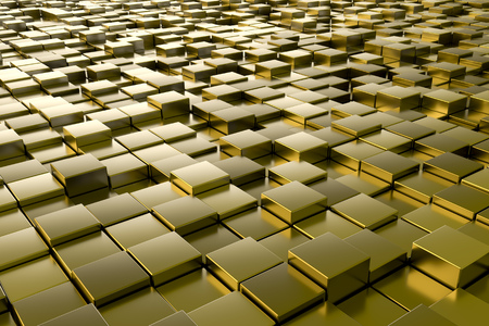 black yellow: A background image of some golden metallic cubes Stock Photo