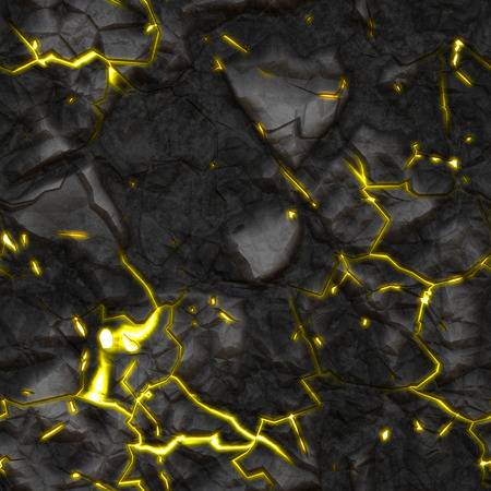 scorched: An image of a seamless stone texture with yellow glowing cracks Stock Photo