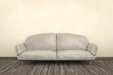 brown leather sofa: 3d render of a shabby room with a sofa